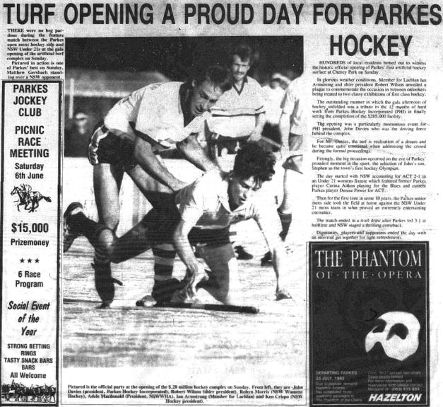 On the eve of Stephen Davies announcement as Parkes first ever hockey Olympian, the new turf hockey fields were unveiled. Later to be named Stephen Davies Field, at the time of Barcelona Olympics, Parkes hockey enthusiasts went to Cheney Park. Source: Parkes Champion Post Wednesday June 3 1992, page 28