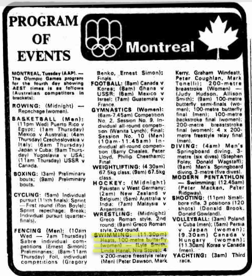 TV program highlighting Nira Stove's event 100 metres Butterfly. Source: The Canberra Times Wednesday 21 July 1976 page 35