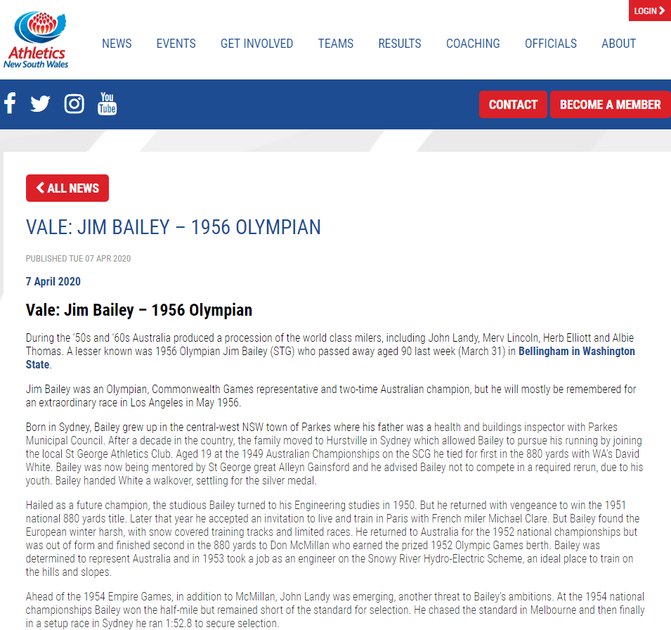 Information regarding the incredible life of Jim Bailey. Source: NSW Athletics website