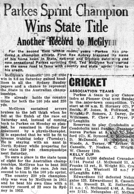 It was a decade of great sporting achievements in Parkes Shire. The 1950s produced another record with Ted McGlynn taking the state title against better trained, better resourced and more fancied city athletes. Source: The Champion Post Tuesday January 6, 1953 page 3