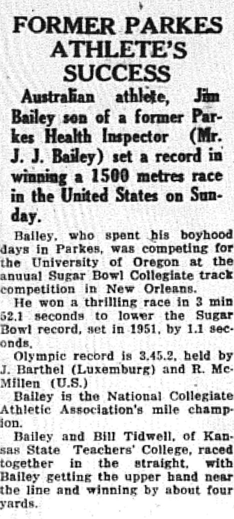 From living in Parkes to setting a record in the United States of America. Newspaper report on son of former Parkes Health Inspector racing against the best American athletes at the annual Sugar Bowl Collegiate track meet in New Orleans. Source: The Champion Post Thursday January 5, 1956 page 3