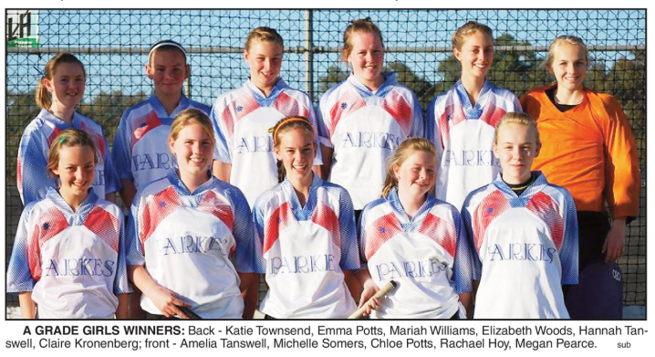 A Grade winners in 2008, the Parkes Rovers. Mariah was then heading to Adelaide to participate in the Australian under 13s Girls Hockey Carnival. Source: Parkes Champion Post Friday September 26, 2008 page 26