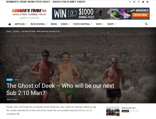 In a recent article on Runner's Tribe website, Scott Westcott is mentioned. The article highlights great Australian marathon runners, especially those who have completed marathons in sub 2:10. Source: Runner's Tribe website
