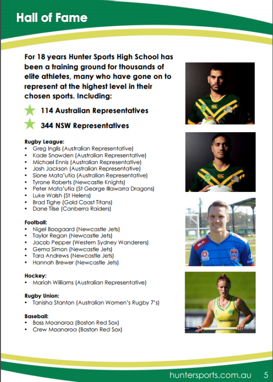 Mariah in illustrious company. Mariah's photograph sits neatly alongside her alumni from Newcastle's Hunter Sports High School including Greg Inglis, Sione Mata'utia (rugby league) and Nigel Boogaard (football) Source: Hunter Sports High School Talented Sports Program Sponsorship Opportunities 2016-17