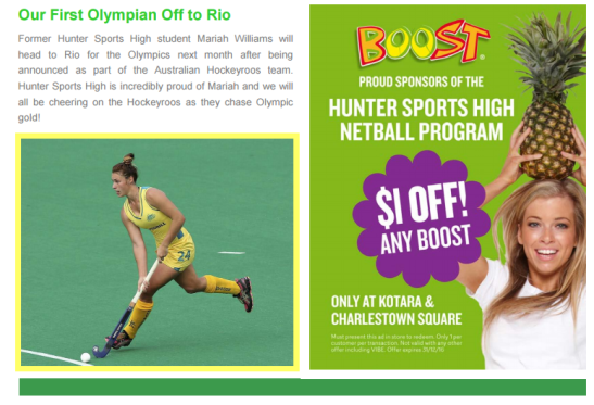 Newcastle's Hunter Sports High School was rightly proud of their first Olympian. Source: Hunter Sports High Spectator 2016 Term 3 - Week 2 page 7