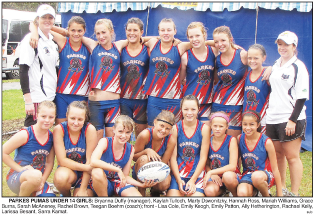 Talented in a number of sports, Mariah here with the Parkes Pumas Under 14 Girls touch team that attended the Junior State Cup in Wollongong. Mariah was one of two Parkes girls to make the Hornets representative squad after a successful tournament. Photograph: Parkes Champion Post Wednesday 4 March, 2009 page 23