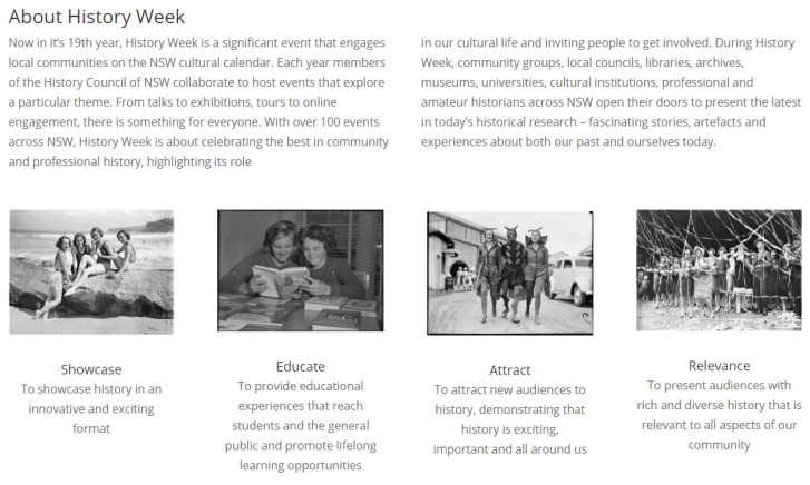 Information about History Week. Source: History Council of NSW website