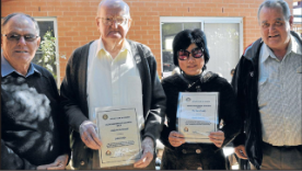 Doug Hawken (left, representing Julie Corking) who nominated Malcolm Macdonal, and Sandy Poon (second from right), nominated by Kevin Dumesny. Source: Parkes Champion Post Wednesday July 11, 2012 page 8