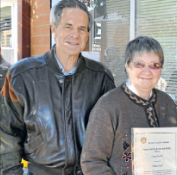 Bruce Hall (left) nominated Coral Barber. Source: Parkes Champion Post Wednesday July 11, 2012 page 8