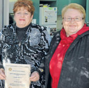Darelle Whiney (left) with nominator, Shirley Russell. Source: Parkes Champion Post Wednesday July 11, 2012 page 8