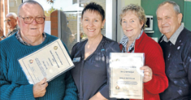 Charlie Smith (far left) was nominated by Amy Iglewski, while Helen and Mal Westcott (right) nominated Bev and Bob Bokeyar who could not be present. Source: Parkes Champion Post Wednesday July 11, 2012 page 8