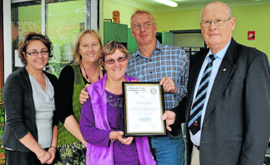 Good Neighbours, Chris and Al Curteir (centre) with nominators, Liza Cope and Julie Macaulay and Rotary president, Peter Woods (right). Source: Parkes Champion Post 7 June 2013