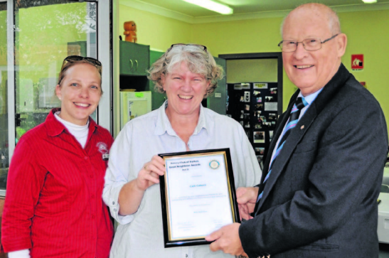Kim Robinson (left) nominated Cath Coburn (centre) with Rotary president, Peter Woods (right). Source: Parkes Champion Post 7 June 2013