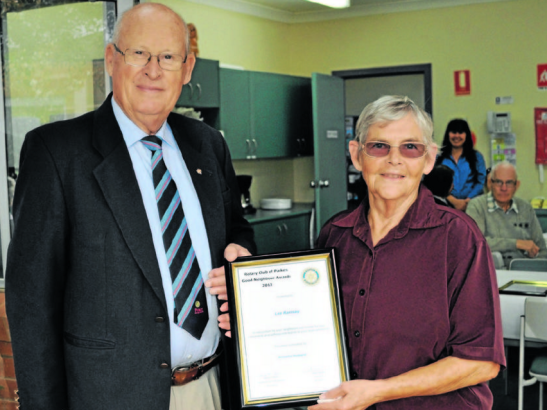 Rotary president, Peter Woods (left) with recipient, Lea Ramsay (right). Lea was nominated by Semeatria Hubbard (absent) Source: Parkes Champion Post 7 June 2013