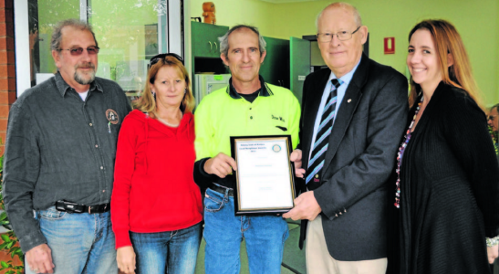 Parkes 2013 Good Neighbour Award winner, Rodney Currey (centre) with Rotary president, Peter Woods and his nominators, Ian and Sue Griffey. Source: Parkes Champion Post 7 June 2013