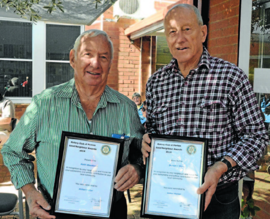 Arthur Parker (left) nominated both Derrick Milling (right) and Keith Woodlands (who was unable to be present) Source: Parkes Champion Post 18 May 2014