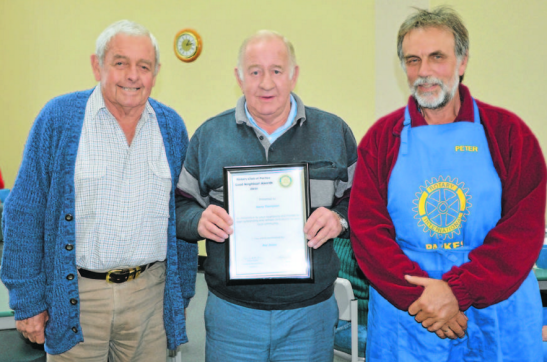 Ray Jones nominated Barry Thompson. They are both standing next to Rotarian, Peter Dearden. Source: Parkes Champion Post 22 June 2015