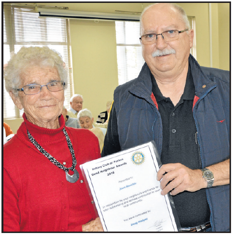 Joan Rauchle with Rotarian, David Hughes. Source: Parkes Champion Post Tuesday June 21, 2016 page 28