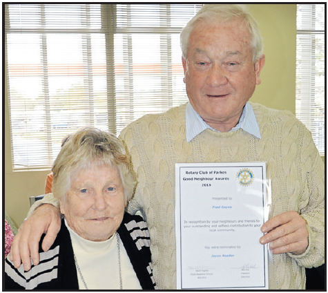 Joyce Roeder nominated Fred Coyne as her Good Neighbour. Source: Parkes Champion Post Tuesday June 21, 2016 page 28