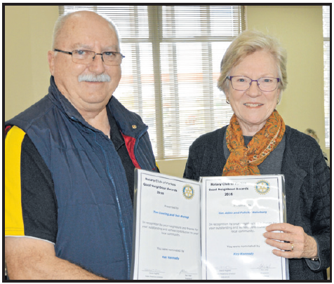 Rotarian, David Hughes with nominator Kay Kennedy. Source: Parkes Champion Post Tuesday June 21, 2016 page 28