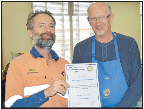 Good Neighbour nominator Dave Richards with Rotarian, John Short. Source: Parkes Champion Post Tuesday June 21, 2016 page 28