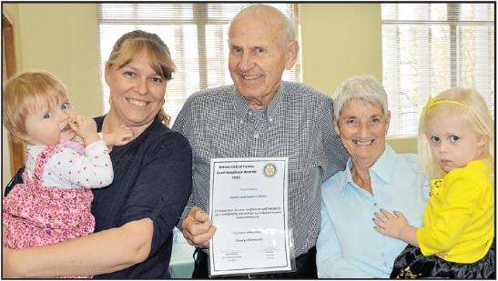 Good Neighbours Awards 2016. Nominator Carolyn Simmons holding Jemima (1) with her Good Neighbours Hubert and Elaine Plicha with Claudia Williams (3). Source: Parkes Champion Post Friday June 17, 2016 page 3