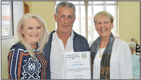 Good Neighbours Awards 2016. Nominator Jacinta Rawson (left) with her Good Neighbours, Phil and Carla Bishop. Source: Parkes Champion Post Friday June 17, 2016 page 3