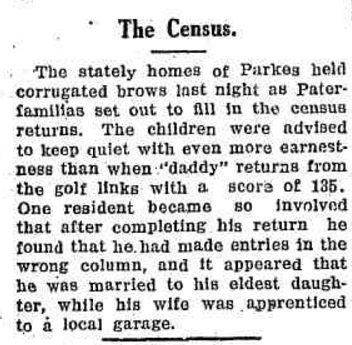 Humour and the census. This anecdote appeared in the Western Champion Friday 30 June 1933, page 9