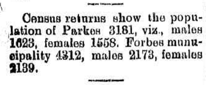 The census returns, completed by each colony in pre-Federation days shows the population of Parkes at 3,181. There were more males 1,623 with 1,558 females. Also listed is the population of Forbes 4,312. Source: Brief Mention. (1901, May 10). Western Champion (Parkes, NSW : 1898 - 1934), p. 8. Retrieved October 28, 2016, from http://nla.gov.au/nla.news-article112368362