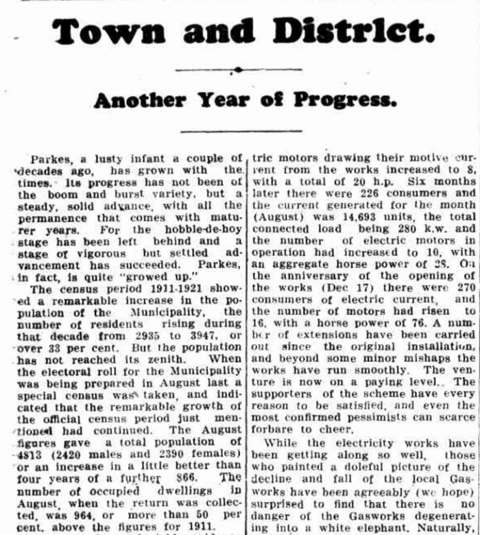 This newspaper report details the steady rise of Parkes growth. It contains figures of population for 1911 (2,935) and 1921 (3,947) which were from the census. In addition it lists the population in 1925 as being 4,813 which was taken from the electoral roll. This last figure is the closest on record of gender equality within Parkes - only 30 more men than women recorded. Source: Town and District. (1925, December 24). Western Champion (Parkes, NSW : 1898 - 1934), p. 15. Retrieved October 28, 2016, from http://nla.gov.au/nla.news-article113546346