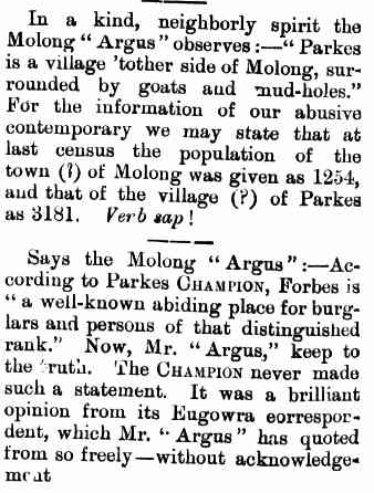 The census was used to settle local media disputes between The Western Champion and the Molong Argus. Source: Brief Mention. (1903, May 15). Western Champion (Parkes, NSW : 1898 - 1934), p. 8. Retrieved October 29, 2016, from http://nla.gov.au/nla.news-article112278358