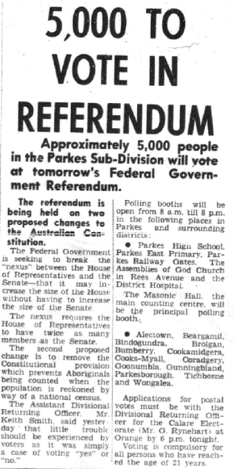 Parkes Champion Post front page story indicating how many from Parkes Sub-Division will vote on the now historic referendum. Source: Parkes Champion Post Friday May 26, 1967 page 1