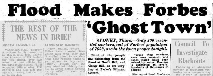 Parkes, and the facilities of its migrant centre, come to the aid of neighbouring town Forbes again. Severe flooding left Forbes being labelled a 'ghost town' as many flood-effected residents stayed at Parkes Migrant Centre. Source: Flood Makes Forbes 'Ghost Town' (1952, June 20). Illawarra Daily Mercury (Wollongong, NSW : 1950 - 1954), p. 1. Retrieved November 28, 2016, from http://nla.gov.au/nla.news-article133689515