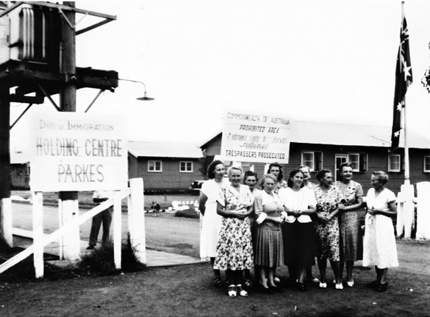 Photograph of Parkes Migrant Camp - sometimes called Parkes Holding Centre and the Migrant Hostel - with a group of ladies posing for the camera. Source: Culture Victoria website