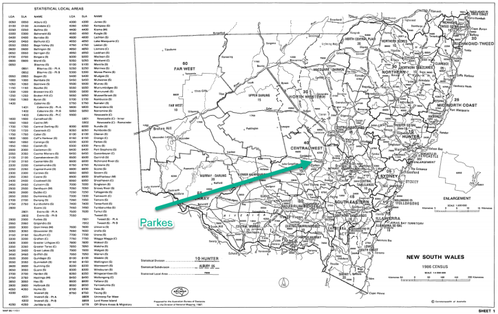 Australian Bureau of Statistics map of New South Wales. Parkes is listed on the map, but not Peak Hill, Trundle or Tullamore. Source: ABS website