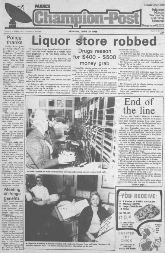 "Front page of Parkes Champion Post on census day. The police article highlights the hospitality of the Parkes Shire, while the main story sees the march of progress as local telephone assistance ceases. The bottom right has an advertisement for local iconic food store, ""Chester the Chick"". According to the ABS, the average weekly wage was $409.20 Source: Parkes Champion Post Monday June 30, 1986 page 1"