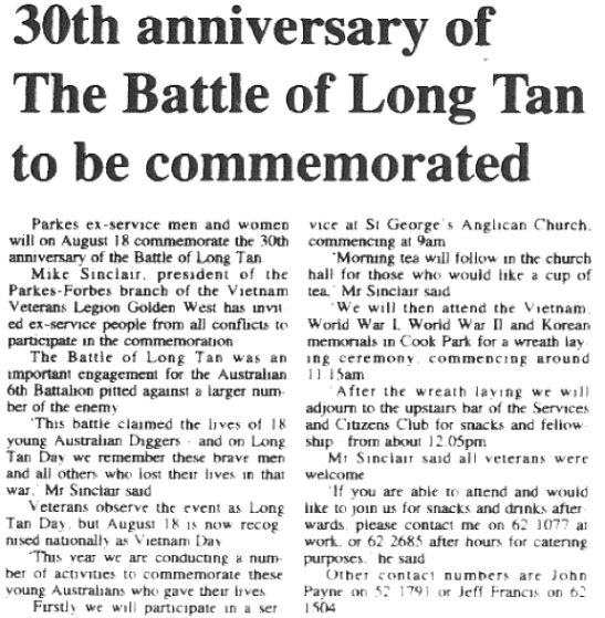Newspaper reporting on the 30th anniversary of The Battle of Long Tan. Source: Parkes Champion Post Monday August 5, 1991 page 3