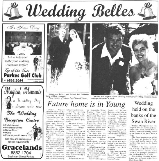 "Fine China! Favourite son of the Parkes Shire - triple Olympian Stephen ""China"" Davies - marries Keran Hawkes in Perth. Source: Parkes Champion Post Monday August 6, 2001 page 4"