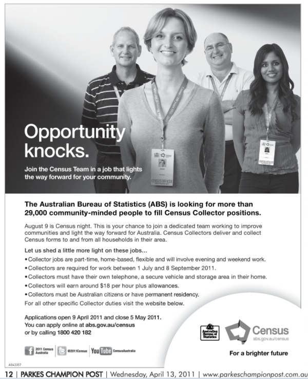 Advertisement asking for Census collectors. Source: Parkes Champion Post Wednesday April 13, 2011 page 12