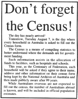 A reminder about the upcoming Census. In the Centenary of Federation, the ABS were asking each household if they would agree to new changes in regards to archiving personal details. Source: Parkes Champion Post Monday August 6, 2001