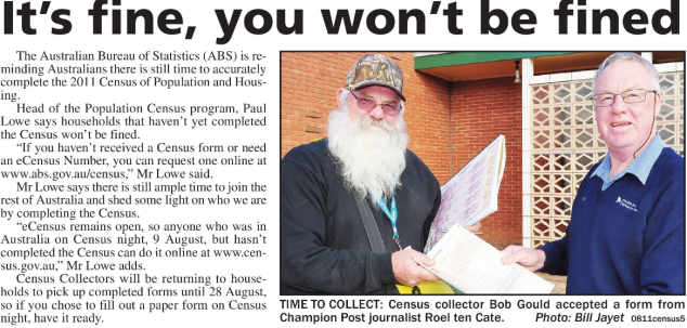 The eCensus - completing the Census over the Internet - was introduced in 2006 and would continue in 2011. could complete an eCensus - an early version of online census. Here journalist, Roel ten Cate, poses with Census collector, Bob Gould. Source: Parkes Champion Post Friday August 12, 2011 page 2