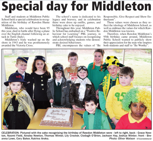 There were many celebrations in Parkes around Census night 2011. Victoria Cross recipient and local boy, Rawdon Hume Middleton, would have been 95 in 2011. Middleton Public School held a special celebration remembering and honouring the values and qualities of this ever-popular Parkes Shire resident. Source: Parkes Champion Post Monday August 8, 2011 page 2