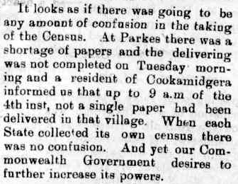 The first national Census was not without criticism or incident as this excerpt displays. Source: Western Champion Friday April 7, 1911 page 10