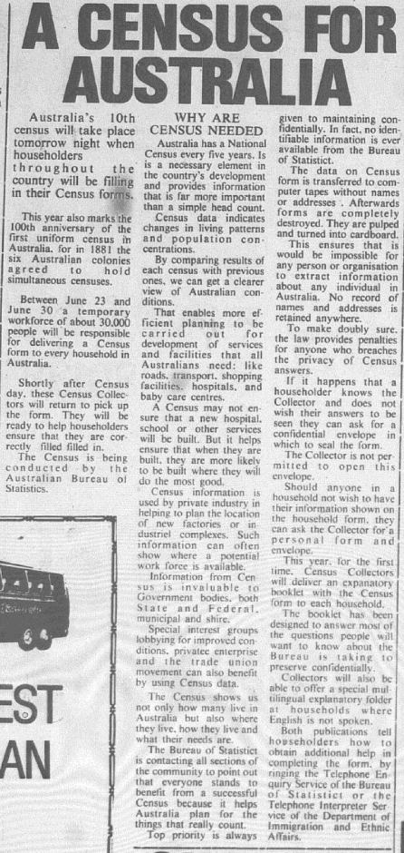 Local newspaper article informing why the census is needed. Source: Parkes Champion Post Monday June 29, 1981 page 2
