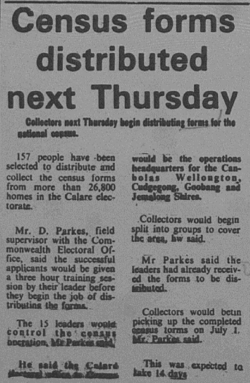 Newspapers were an integral part of promoting events and activities in 1976 and the local newspaper indicated that 157 people had been selected as distributors and collectors of census forms. Source: Parkes Champion Post Wednesday June 23, 1976 page 6