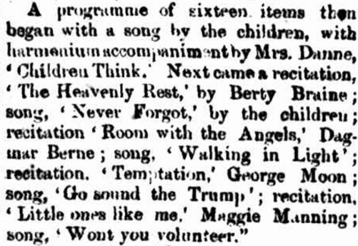While Dagmar was described as shy, she still took part in public speaking. The article in the local newspaper lists a recitation by Dagmar Berne at a performance by the Children of the Wesleyan Sunday School. Source: ENTERTAINMENT. (1874, September 24). The Bega Gazette and Eden District or Southern Coast Advertiser (NSW : 1865 - 1899), p. 2. Retrieved January 20, 2017, from http://nla.gov.au/nla.news-article106754814