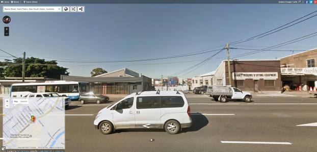 Berne Street is still listed on Google Maps. However it is where the container terminal is situated, the main road in foreground is Princes Highway, St Peters. Source: Google Street View of Berne Street in May 2016, retrieved from https://www.instantstreetview.com/@-33.916113,151.173419,139.1h,1.36p,0.27z January 20th, 2017