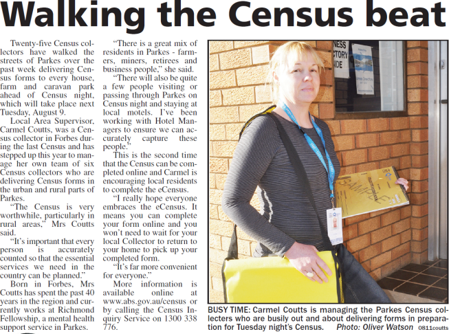 Local newspaper report on Census collection with the 2011 Census set for Tuesday August 9. Area manager, Carmel Coutts is photographed before collection night outside Parkes Champion Post offices. Source: Parkes Champion Post Friday August 5, 2011 page 2