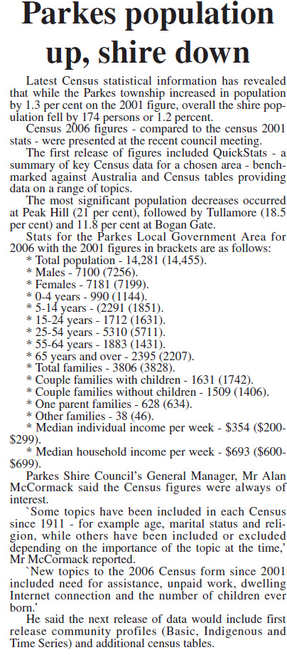 While the population of Parkes increases, the remainder of the Shire's towns would continue their downward trend. Source: Parkes Champion Post Monday September 3, 2007 page 3