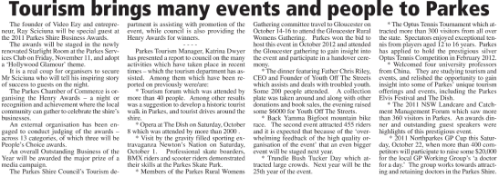 The goldfields might have brought the first settlers to the Parkes Shire, but it is the many activities and events that keep bringing people back year after year. Source: Parkes Champion Post Wednesday October 19, 2011 page 16